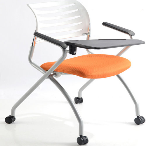folding cheap cushion training chair with board writing pad