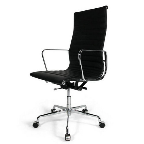 eames reproduction high back black leather office chair