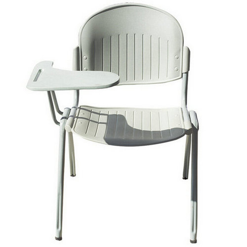 Modern plastic stackable conference chair with writing table