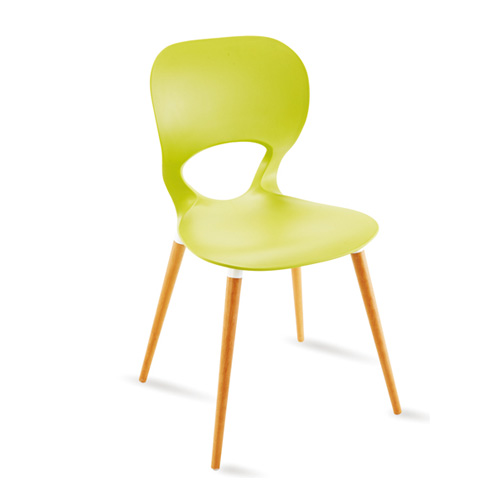 PP Plastic Seat Wooden Legs Dining Chair furniture supplier