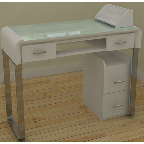 Cheap glass manicure table / nail salon desk for sale