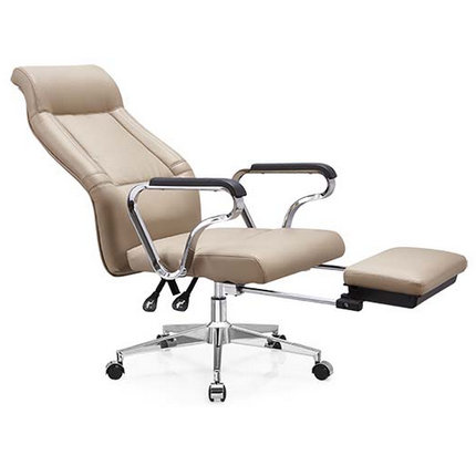 Tilt Chrome Leather Reclining Office Chair Footrest Headrest