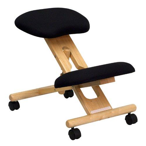 Height Adjustable wood kneeling chair ergonomic with castors