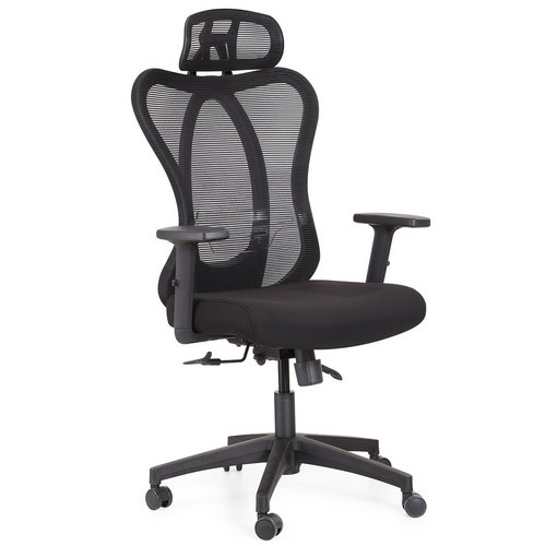 high back black ergonomic fabric executive office chairs