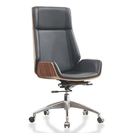 bent wood swivel executive genuine leather office chair