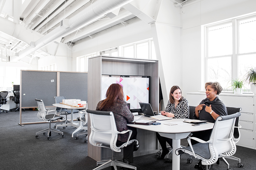 This Cove setting—a group space adjacent to the North American Marketing team's individual workstations—allows people to assemble and engage with one another for a short period of time.