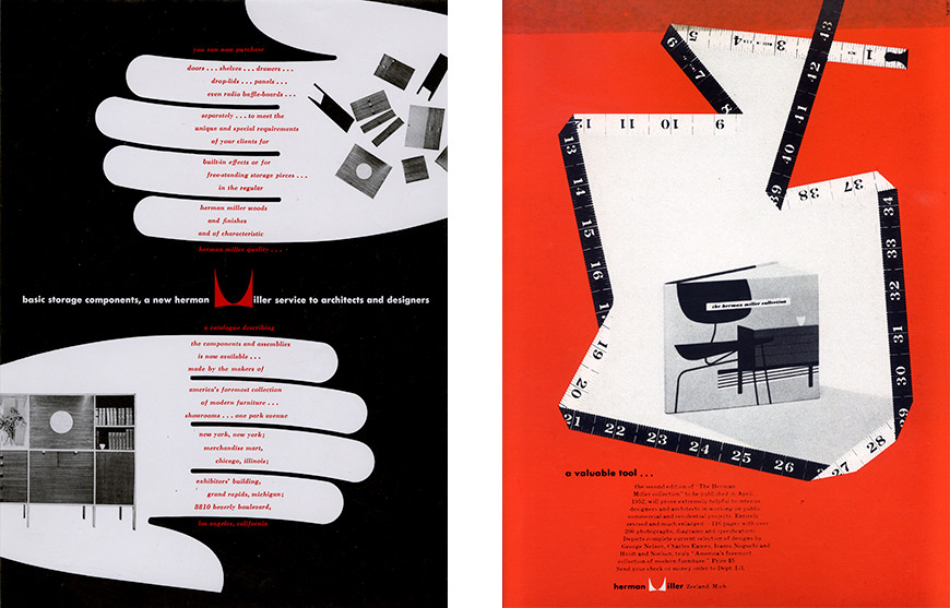 "Magazine Advertisement for Interiors: 1949; Magazine Advertisement: ""Herman Miller Collection,"" 1952."