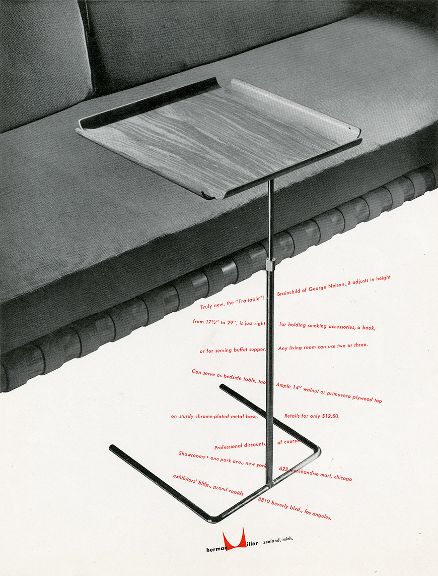 "Magazine Advertisement for Interiors: ""Truly new the 'Tra-table',"" 1950."