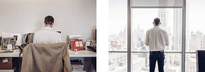A desk scene and city view from the offices of Fast Company magazine in the new World Trade Center building.