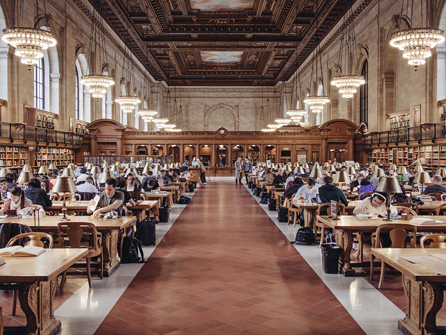 The Rose Main Reading Room at New York Public Library.